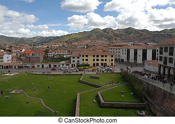 Cuzco Coricancha - View of Cuzco parks and houses