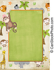 Zoo animals - Wild animal background with monkey hanging for...