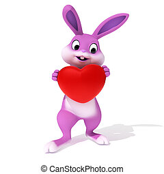Happy easter - 3d rendered illustration of a cute pink...