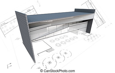 3d illustration of modern building construction concept with plan isolated on white.