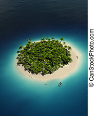 Tropical island - 3d rendered illustration of a tropical...