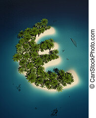 Euro island - euro sign shaped tropical island