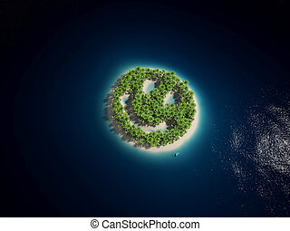 Smily island - 3d rendered illustration of a smiley-shaped...