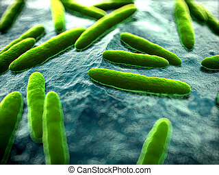 Bacteria close up - 3d rendered scientific illustration of...