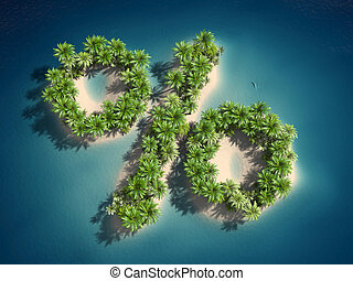 percent sign - 3d rendered illustration of an island forming...
