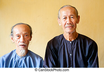 Vietnamese monks in the Phi Lai temple in Ba Chuc, Mekong...