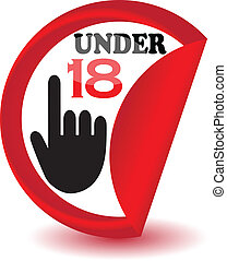 Under eighteen sign.Vector -  3d Under eighteen sign