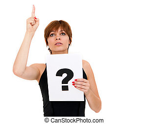 woman with board question mark sign - portrait young woman...