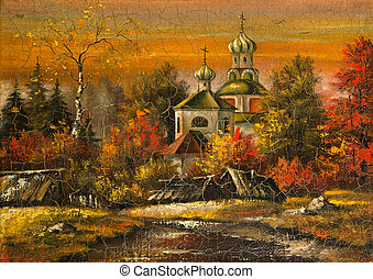 Ancient picture. Church in village