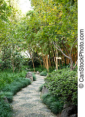 walk path in the garden - Chinese garden style with unpaved...