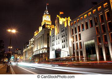 Waitan night view - Center of Shanghai, night scene at the...