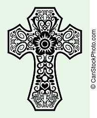 Decorative cross - ornament ink drawing cross