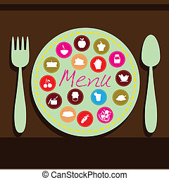food and drink background - plate, fork and spoon background...