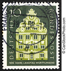 Postage stamp Germany 1957 Landschaft Building, Stuttgart -...