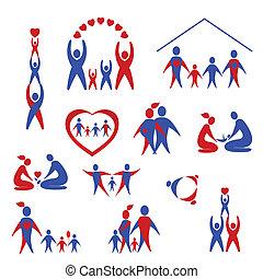 cobrança, família, ícones, logotipo