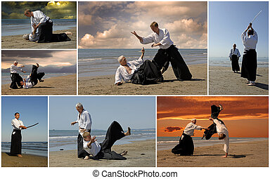 Aikido - composite picture with adults who are training in...