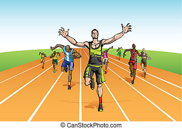 Winner in Finishing Line - illustration of winneramonf many...