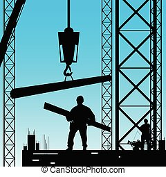 constuction worker silhouette at work vector illustration