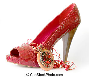 Red shoe with high heel and necklace - Red shoes with high...
