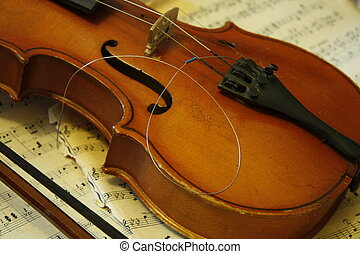 Broken string - Old violin with broken string