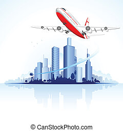 Flying Airplane on City Scape - illustration of airplane...