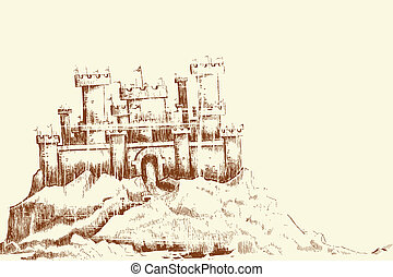 Sketch of Castle - illustration of sketch of castle in...