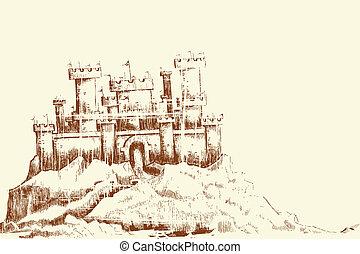Sketch of Castle - illustration of sketch of castle in...