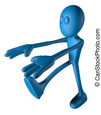 sleepwalker - blue guy is sleepwalking - 3d illustration