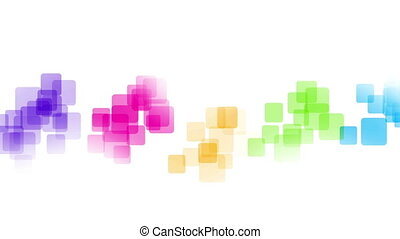 Colorful squares, white background