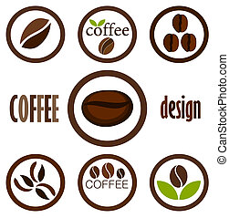 Coffee symbols - Coffee bean symbols for design. Vector...