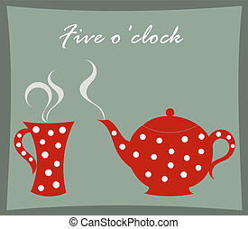 Teapot and mug - Tea time - teapot and mug vector...