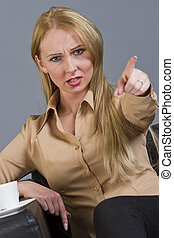 frustrated woman pointing with finger