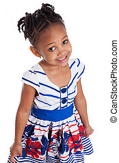 Portrait of a cute little african american girl, isolated on...