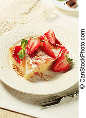 Cheese and strawberry sponge cake - Sponge cake with cheese...