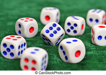 Dice on the baize - Dice on a green baize