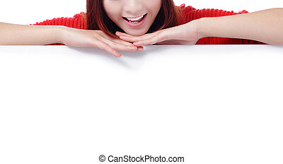 Happy woman smile mouth with blank billboard