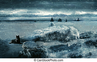 Endless Winter - Fantasy scene with a woman frozen in the...