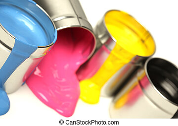 CMYK cans of paint
