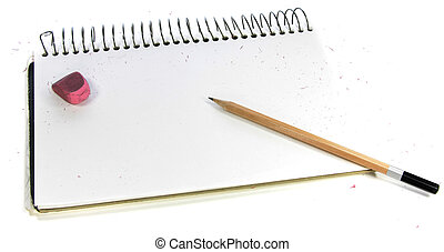 Pencil and sketchbook - Pencil eraser on blank sketchbook...