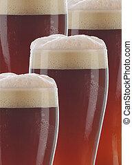 Closeup Dark Beer Glasses