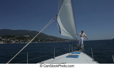 Sea trip HD - Sea trip on the yacht Sailor is walking on a...