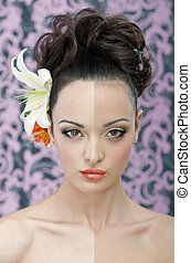 Brunette beauty portrait - Headshot of the young bride with...