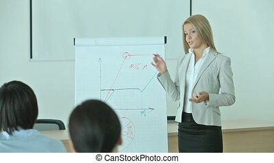 Business training - Pretty blonde holding a business...
