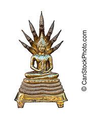 Buddha, blanco, Escultura, Plano de fondo, oro