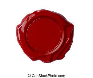 rojo, cera, sello, aislado, blanco