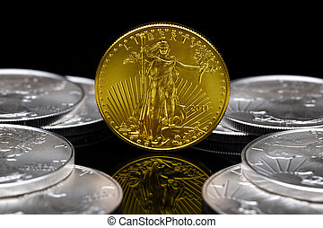 Uncirculated 2011 American Gold Eagle coin with American...