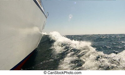 Yacht in motion HD - Wave and lipper due to motion of the...