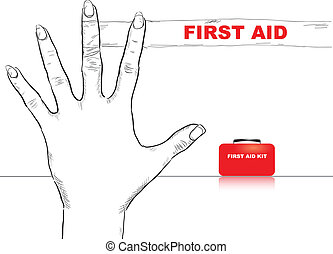 First Aid Finger - Creativity on first aid. Bandaged finger....