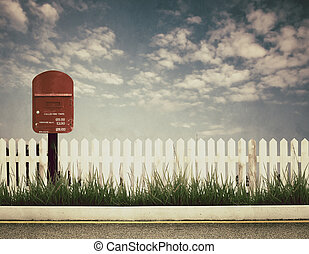 retro style picture of postbox at roadside