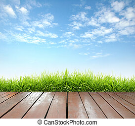 wooden terrace with fresh spring green grass